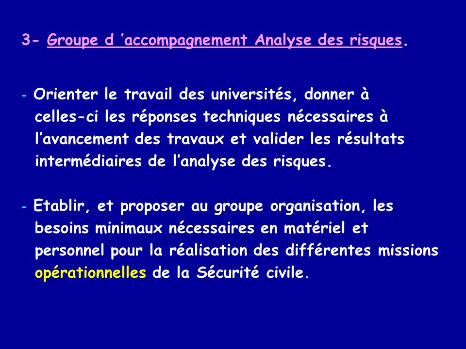4- Analyse des risques.
