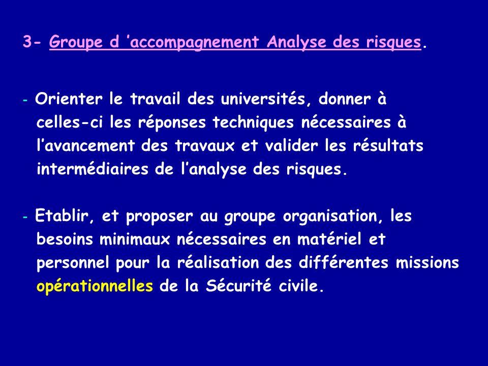 3- Groupe d accompagnement Analyse des risques. - Orienter le travail des universités, donner à celles-ci les réponses techniques nécessaires à lavanc