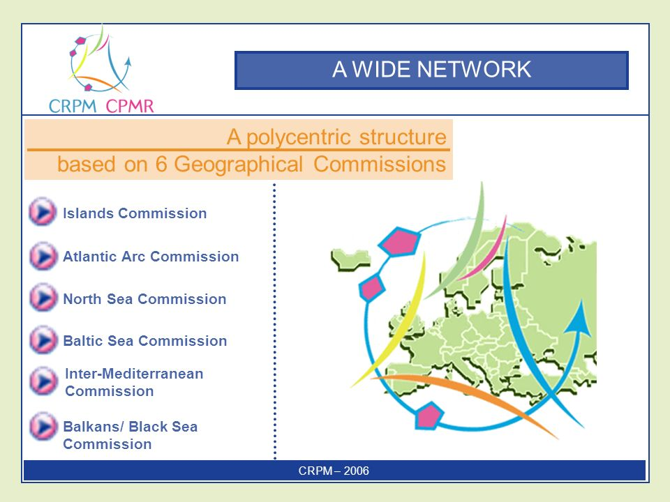 A WIDE NETWORK Islands Commission Atlantic Arc Commission North Sea Commission A polycentric structure based on 6 Geographical Commissions Baltic Sea