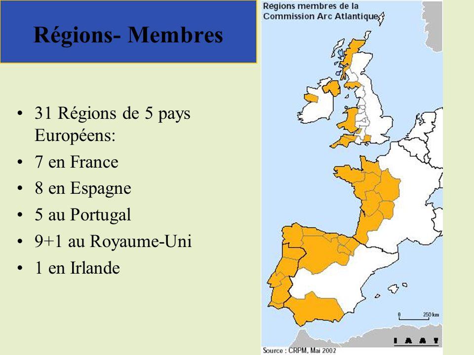 Régions- Membres 31 Régions de 5 pays Européens: 7 en France 8 en Espagne 5 au Portugal 9+1 au Royaume-Uni 1 en Irlande