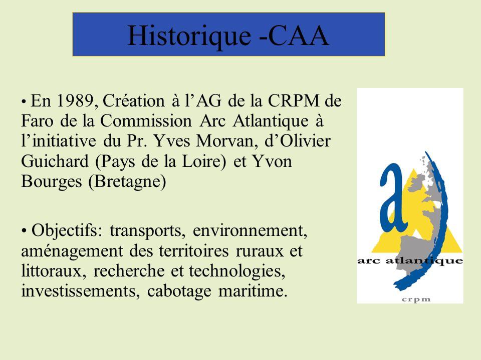 Historique -CAA En 1989, Création à lAG de la CRPM de Faro de la Commission Arc Atlantique à linitiative du Pr.