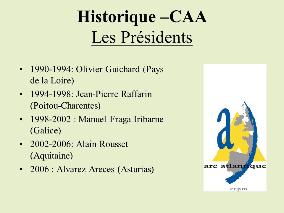 Historique –CAA Les Présidents 1990-1994: Olivier Guichard (Pays de la Loire) 1994-1998: Jean-Pierre Raffarin (Poitou-Charentes) 1998-2002 : Manuel Fraga Iribarne (Galice) 2002-2006: Alain Rousset (Aquitaine) 2006 : Alvarez Areces (Asturias)