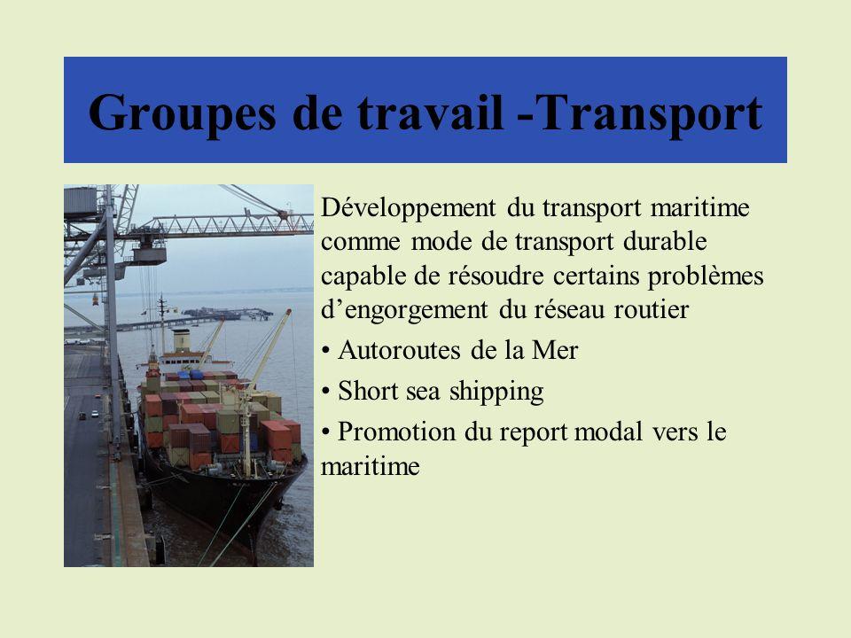 Groupes de travail -Transport Développement du transport maritime comme mode de transport durable capable de résoudre certains problèmes dengorgement du réseau routier Autoroutes de la Mer Short sea shipping Promotion du report modal vers le maritime