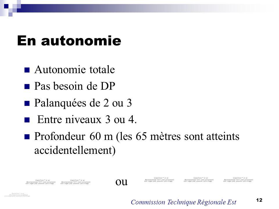 12 En autonomie Autonomie totale Pas besoin de DP Palanquées de 2 ou 3 Entre niveaux 3 ou 4. Profondeur 60 m (les 65 mètres sont atteints accidentelle