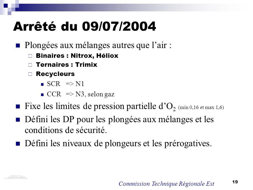 19 Arrêté du 09/07/2004 Plongées aux mélanges autres que lair : Binaires : Nitrox, Héliox Ternaires : Trimix Recycleurs SCR => N1 CCR => N3, selon gaz