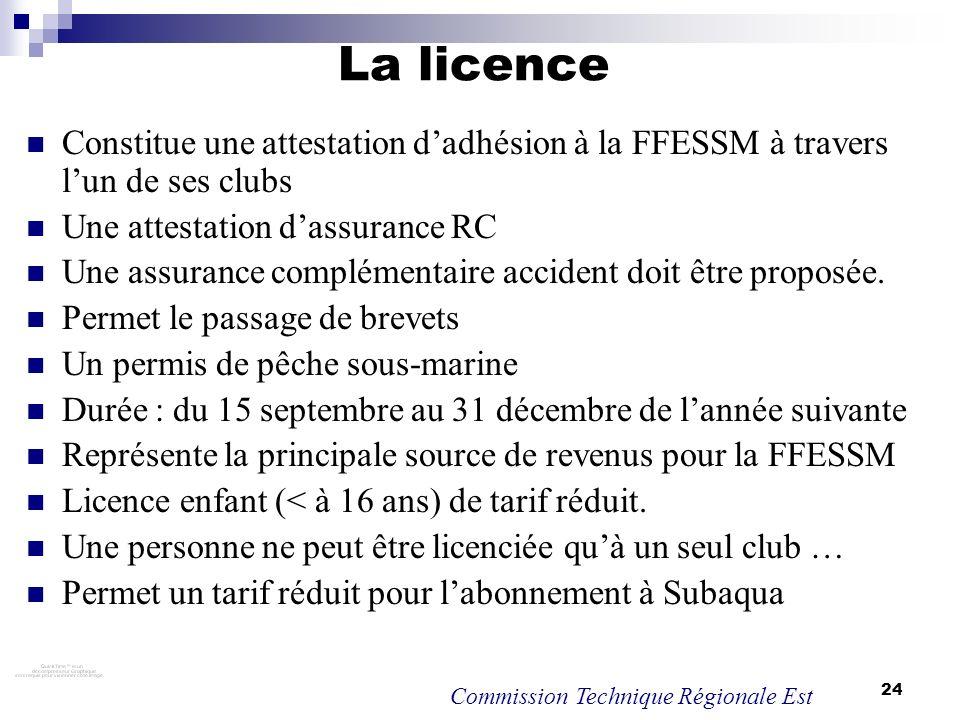 24 La licence Constitue une attestation dadhésion à la FFESSM à travers lun de ses clubs Une attestation dassurance RC Une assurance complémentaire ac