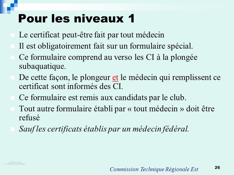 26 Pour les niveaux 1 Le certificat peut-être fait par tout médecin Il est obligatoirement fait sur un formulaire spécial. Ce formulaire comprend au v