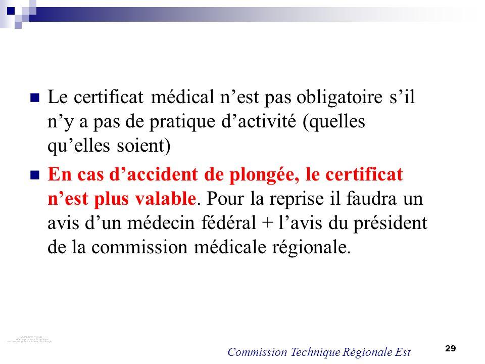 29 Le certificat médical nest pas obligatoire sil ny a pas de pratique dactivité (quelles quelles soient) En cas daccident de plongée, le certificat n