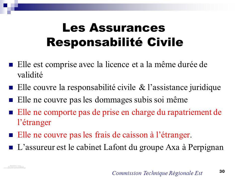 30 Les Assurances Responsabilité Civile Elle est comprise avec la licence et a la même durée de validité Elle couvre la responsabilité civile & lassis