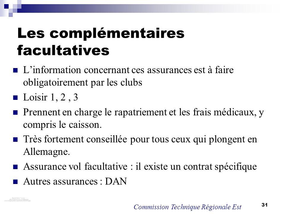 31 Les complémentaires facultatives Linformation concernant ces assurances est à faire obligatoirement par les clubs Loisir 1, 2, 3 Prennent en charge