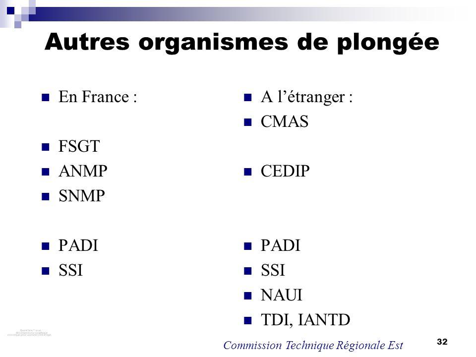 32 Autres organismes de plongée En France : FSGT ANMP SNMP PADI SSI A létranger : CMAS CEDIP PADI SSI NAUI TDI, IANTD Commission Technique Régionale E