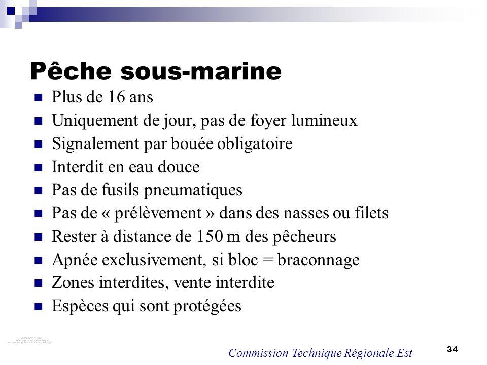 34 Pêche sous-marine Plus de 16 ans Uniquement de jour, pas de foyer lumineux Signalement par bouée obligatoire Interdit en eau douce Pas de fusils pn