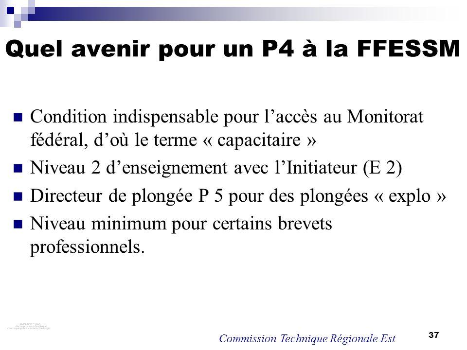 37 Quel avenir pour un P4 à la FFESSM Condition indispensable pour laccès au Monitorat fédéral, doù le terme « capacitaire » Niveau 2 denseignement av