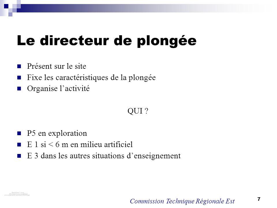 7 Le directeur de plongée Présent sur le site Fixe les caractéristiques de la plongée Organise lactivité QUI ? P5 en exploration E 1 si < 6 m en milie
