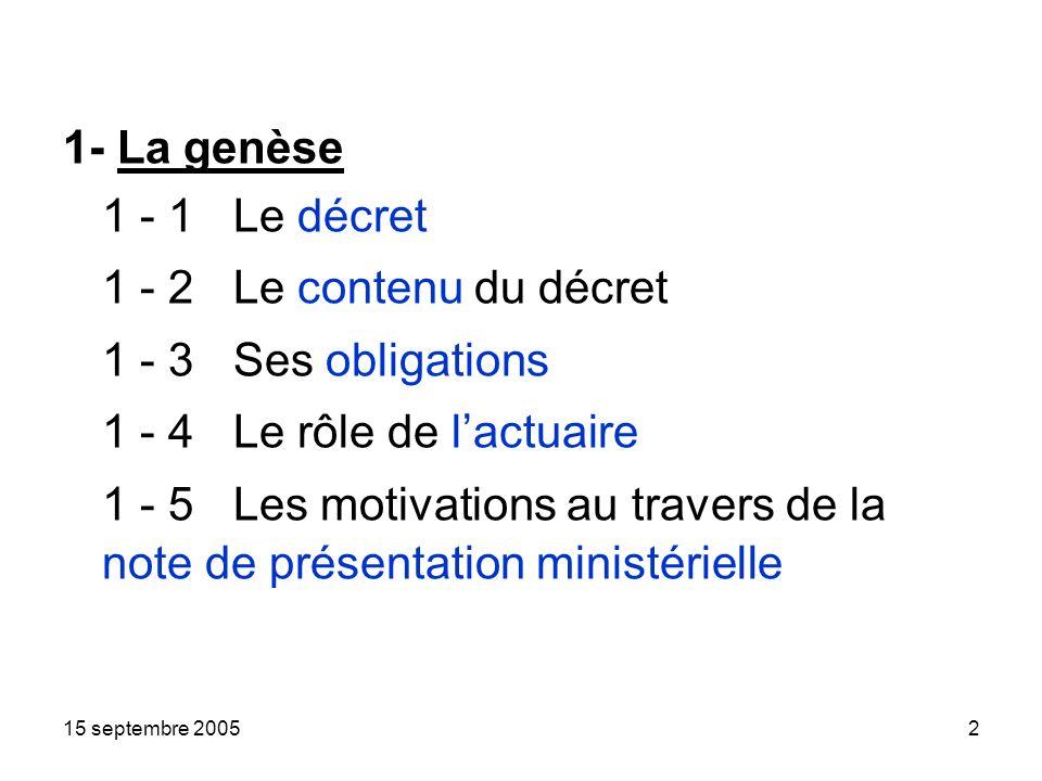 15 septembre 20052 1- La genèse 1 - 1 Le décret 1 - 2 Le contenu du décret 1 - 3 Ses obligations 1 - 4 Le rôle de lactuaire 1 - 5 Les motivations au travers de la note de présentation ministérielle
