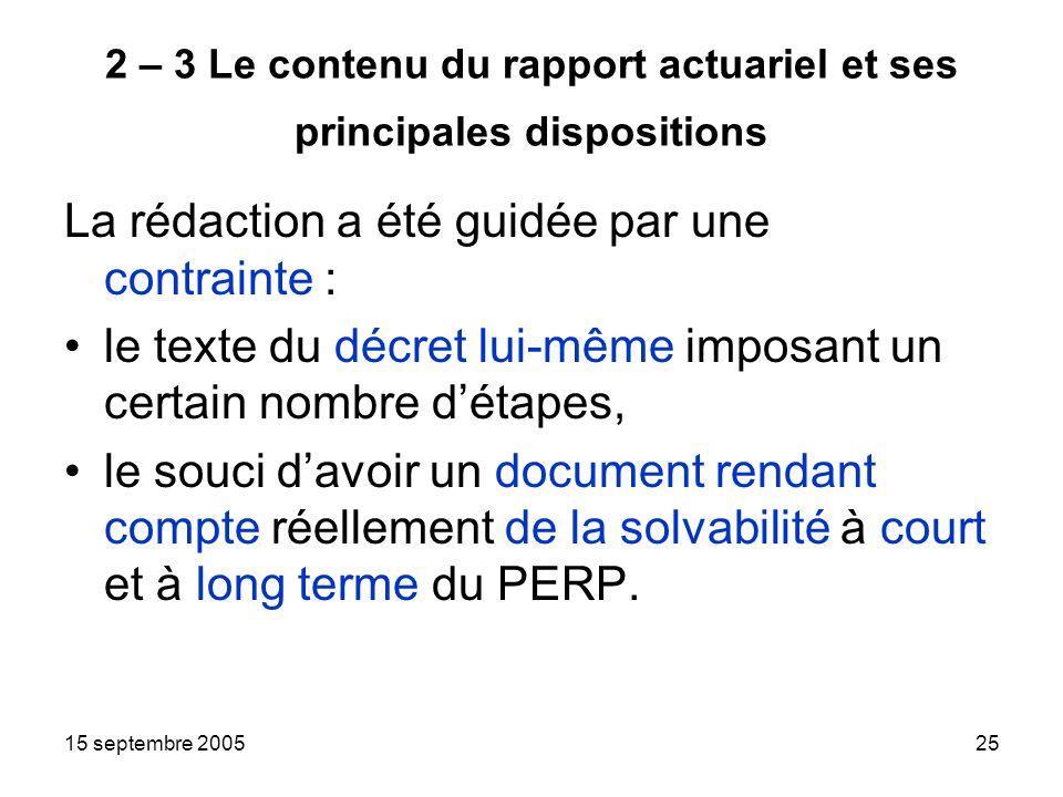 15 septembre 200525 2 – 3 Le contenu du rapport actuariel et ses principales dispositions La rédaction a été guidée par une contrainte : le texte du décret lui-même imposant un certain nombre détapes, le souci davoir un document rendant compte réellement de la solvabilité à court et à long terme du PERP.
