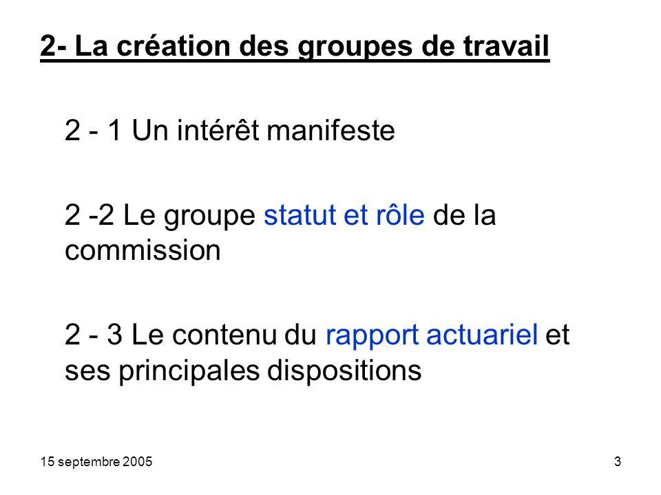 15 septembre 20053 2- La création des groupes de travail 2 - 1 Un intérêt manifeste 2 -2 Le groupe statut et rôle de la commission 2 - 3 Le contenu du rapport actuariel et ses principales dispositions
