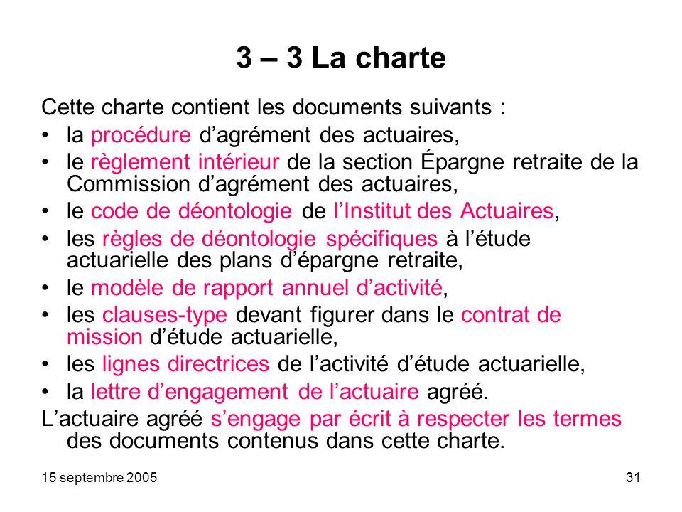 15 septembre 200531 3 – 3 La charte Cette charte contient les documents suivants : la procédure dagrément des actuaires, le règlement intérieur de la section Épargne retraite de la Commission dagrément des actuaires, le code de déontologie de lInstitut des Actuaires, les règles de déontologie spécifiques à létude actuarielle des plans dépargne retraite, le modèle de rapport annuel dactivité, les clauses-type devant figurer dans le contrat de mission détude actuarielle, les lignes directrices de lactivité détude actuarielle, la lettre dengagement de lactuaire agréé.