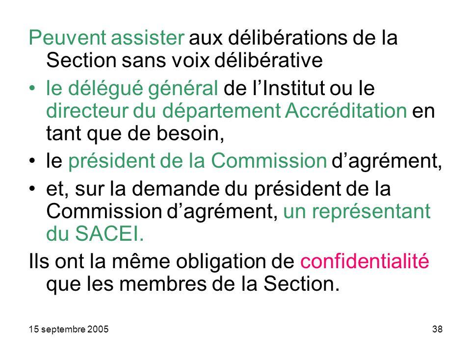 15 septembre 200538 Peuvent assister aux délibérations de la Section sans voix délibérative le délégué général de lInstitut ou le directeur du département Accréditation en tant que de besoin, le président de la Commission dagrément, et, sur la demande du président de la Commission dagrément, un représentant du SACEI.