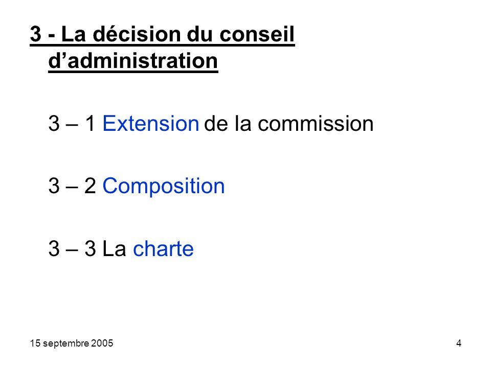 15 septembre 20054 3 - La décision du conseil dadministration 3 – 1 Extension de la commission 3 – 2 Composition 3 – 3 La charte