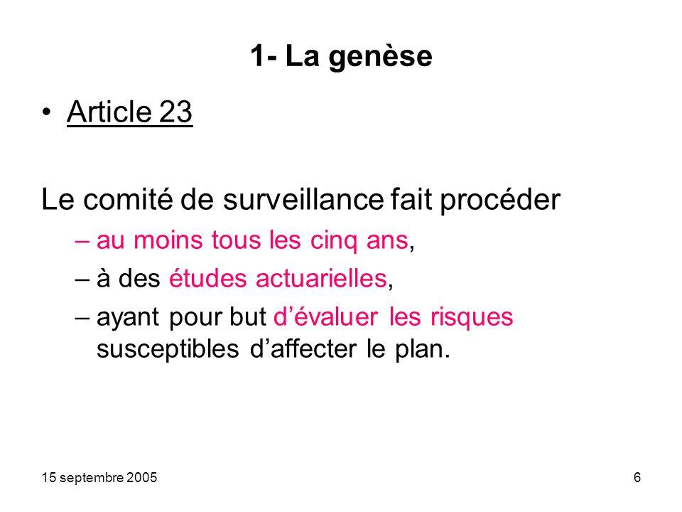 15 septembre 20056 1- La genèse Article 23 Le comité de surveillance fait procéder –au moins tous les cinq ans, –à des études actuarielles, –ayant pour but dévaluer les risques susceptibles daffecter le plan.