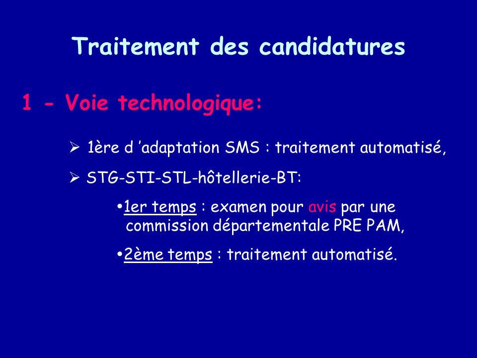 Traitement des candidatures 1 - Voie technologique: 1ère d adaptation SMS : traitement automatisé, STG-STI-STL-hôtellerie-BT: 1er temps : examen pour avis par une commission départementale PRE PAM, 2ème temps : traitement automatisé.