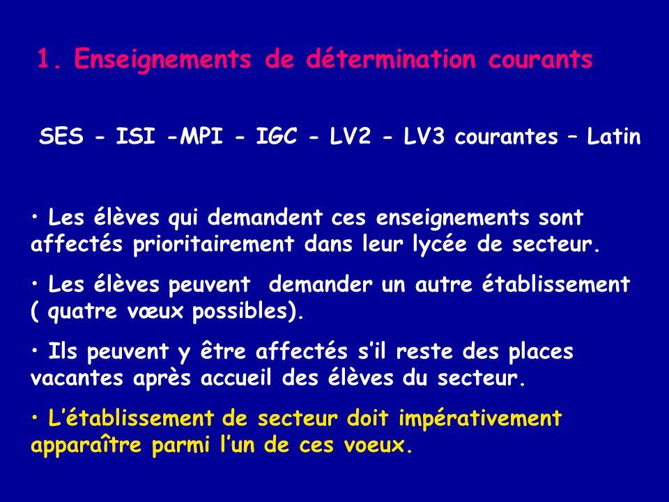 1. Enseignements de détermination courants SES - ISI -MPI - IGC - LV2 - LV3 courantes – Latin Les élèves qui demandent ces enseignements sont affectés