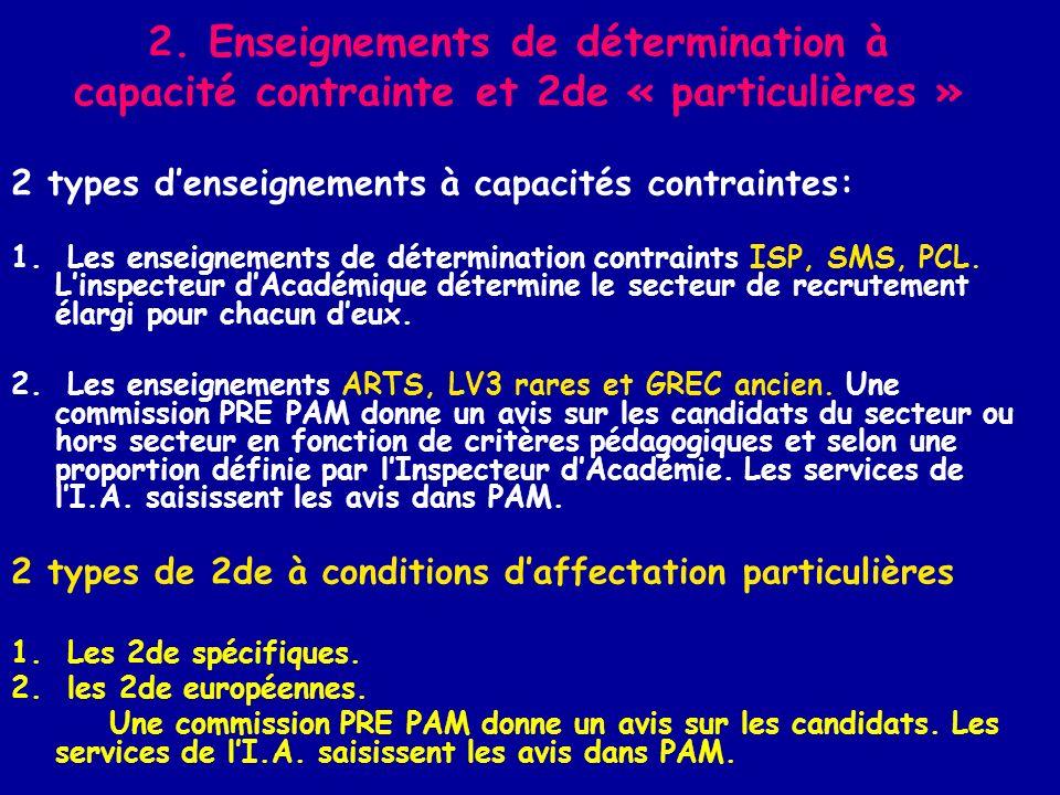 2. Enseignements de détermination à capacité contrainte et 2de « particulières » 2 types denseignements à capacités contraintes: 1. Les enseignements