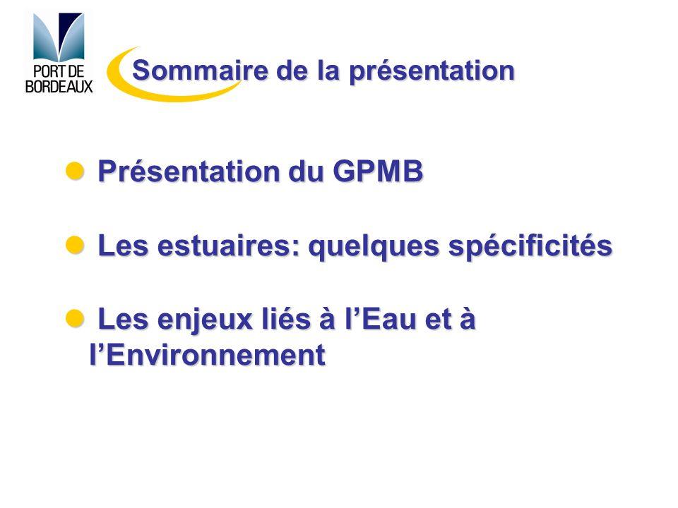 Présentation du GPMB Présentation du GPMB Les estuaires: quelques spécificités Les estuaires: quelques spécificités Les enjeux liés à lEau et à lEnvir