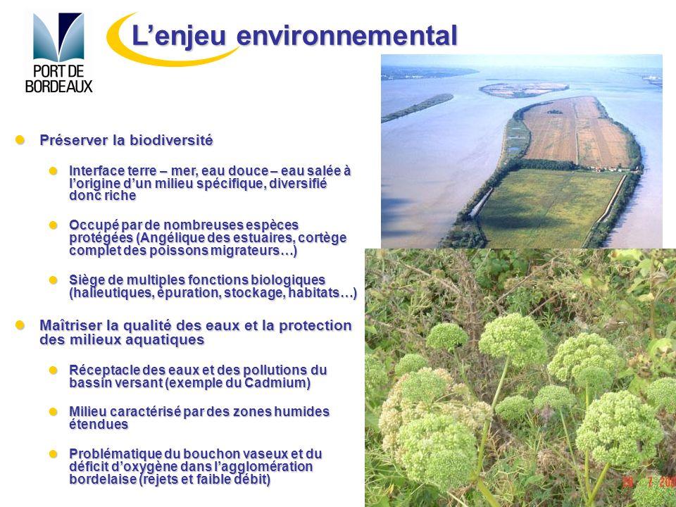 Pouvoir répondre à la croissance des transports par conteneurs (augmentation des flux et de la tailles des navires) Pouvoir répondre à la croissance des transports par conteneurs (augmentation des flux et de la tailles des navires) Ports 2000 (Havre) et Fos 2XL, 3XL et 4XL (Marseille) par exemple Ports 2000 (Havre) et Fos 2XL, 3XL et 4XL (Marseille) par exemple Disposer de terrains daccueil et de réserves foncières suffisantes pour le développement portuaire (implantations sur et à proximité des ports) Disposer de terrains daccueil et de réserves foncières suffisantes pour le développement portuaire (implantations sur et à proximité des ports) Biens de plus en plus rares en raison dune réglementation croissante et dune acceptabilité de plus en plus difficile Biens de plus en plus rares en raison dune réglementation croissante et dune acceptabilité de plus en plus difficile Pouvoir adapter linfrastructure portuaire (exemple 1) Pouvoir adapter linfrastructure portuaire (exemple 1) Construction dun 7 ème terminal à Grattequina Construction dun 7 ème terminal à Grattequina Pouvoir aménager leurs accès maritimes (dragage des chenaux daccès) (exemple 2) Pouvoir aménager leurs accès maritimes (dragage des chenaux daccès) (exemple 2) Enjeu vital, en particulier pour les ports destuaire Enjeu vital, en particulier pour les ports destuaire Lenjeu de développement portuaire
