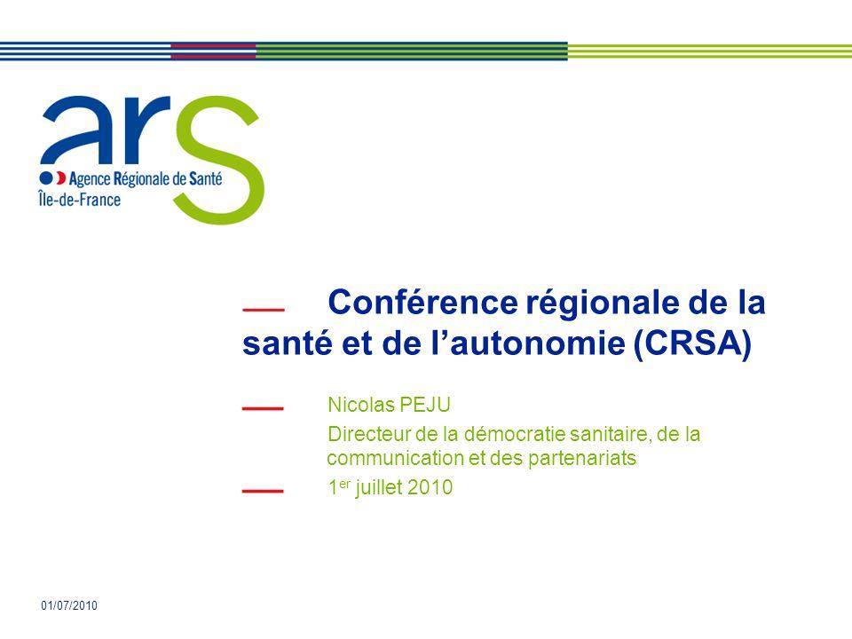 01/07/2010 Conférence régionale de la santé et de lautonomie (CRSA) Nicolas PEJU Directeur de la démocratie sanitaire, de la communication et des partenariats 1 er juillet 2010