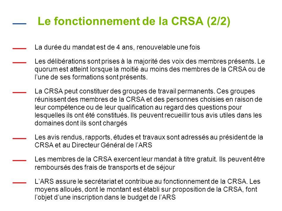 Le fonctionnement de la CRSA (2/2) La durée du mandat est de 4 ans, renouvelable une fois Les délibérations sont prises à la majorité des voix des membres présents.