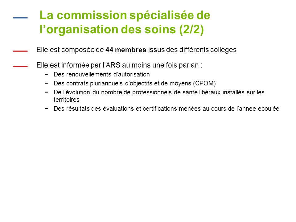 La commission spécialisée de lorganisation des soins (2/2) Elle est composée de 44 membres issus des différents collèges Elle est informée par lARS au moins une fois par an : - Des renouvellements dautorisation - Des contrats pluriannuels dobjectifs et de moyens (CPOM) - De lévolution du nombre de professionnels de santé libéraux installés sur les territoires - Des résultats des évaluations et certifications menées au cours de lannée écoulée