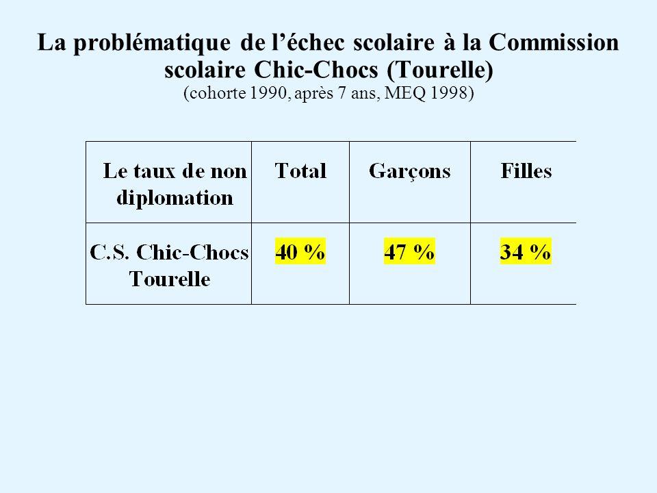 La problématique de léchec scolaire à la Commission scolaire (Tourelle) (MEQ 1998)