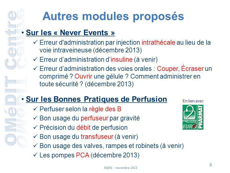 8 JIQHS - novembre 2013 Autres modules proposés Sur les « Never Events » Erreur d'administration par injection intrathécale au lieu de la voie intrave