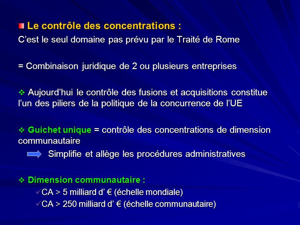 Le contrôle des concentrations : Le contrôle des concentrations : Cest le seul domaine pas prévu par le Traité de Rome = Combinaison juridique de 2 ou