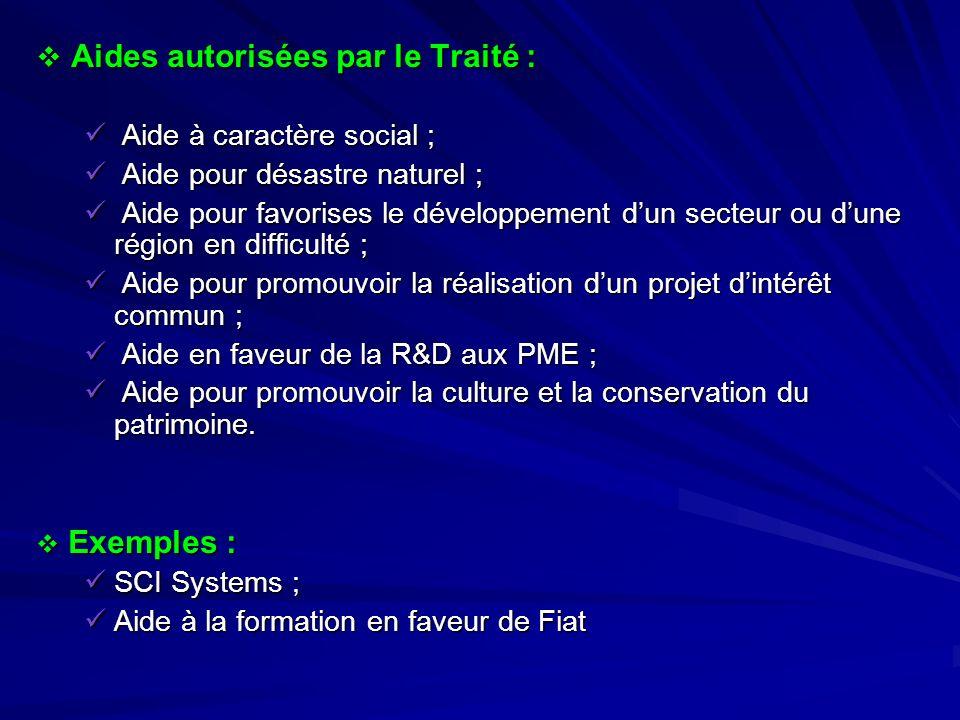 Aides autorisées par le Traité : Aides autorisées par le Traité : Aide à caractère social ; Aide à caractère social ; Aide pour désastre naturel ; Aid