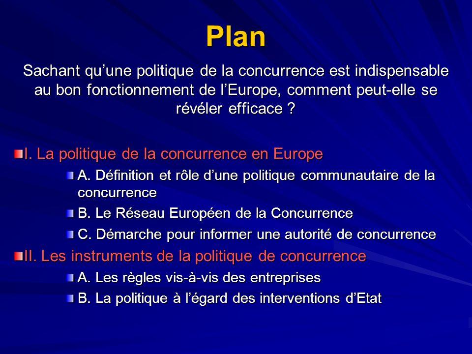 Plan Sachant quune politique de la concurrence est indispensable au bon fonctionnement de lEurope, comment peut-elle se révéler efficace ? I. La polit