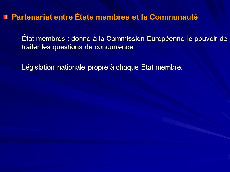 Partenariat entre États membres et la Communauté –État membres : donne à la Commission Européenne le pouvoir de traiter les questions de concurrence –