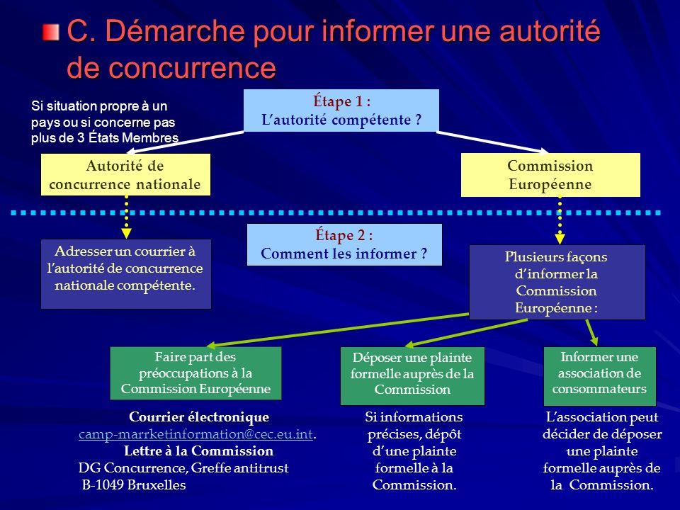 C. Démarche pour informer une autorité de concurrence Étape 1 : Lautorité compétente ? Autorité de concurrence nationale Commission Européenne Si situ