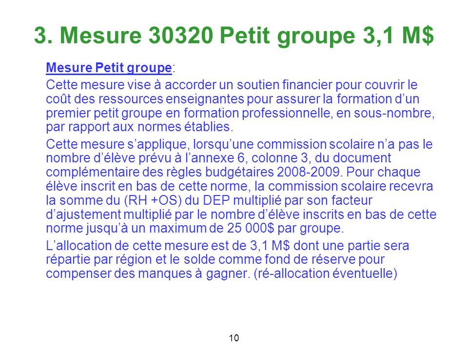 3. Mesure 30320 Petit groupe 3,1 M$ Mesure Petit groupe: Cette mesure vise à accorder un soutien financier pour couvrir le coût des ressources enseign