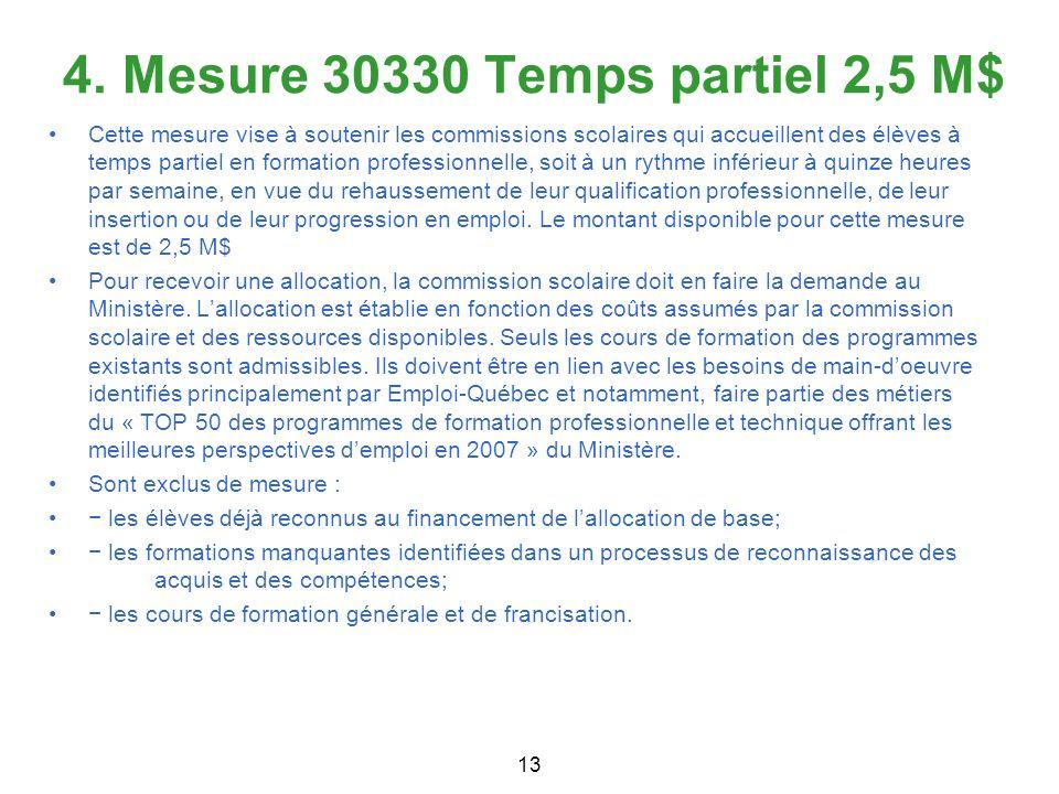 4. Mesure 30330 Temps partiel 2,5 M$ 13 Cette mesure vise à soutenir les commissions scolaires qui accueillent des élèves à temps partiel en formation