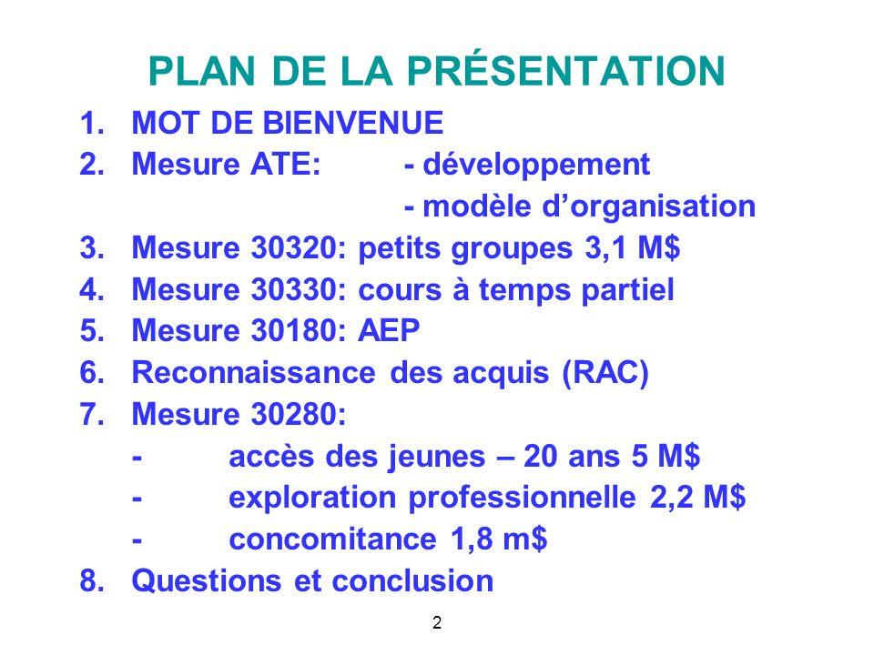 PLAN DE LA PRÉSENTATION 1.MOT DE BIENVENUE 2.Mesure ATE:- développement - modèle dorganisation 3.Mesure 30320: petits groupes 3,1 M$ 4.Mesure 30330: c