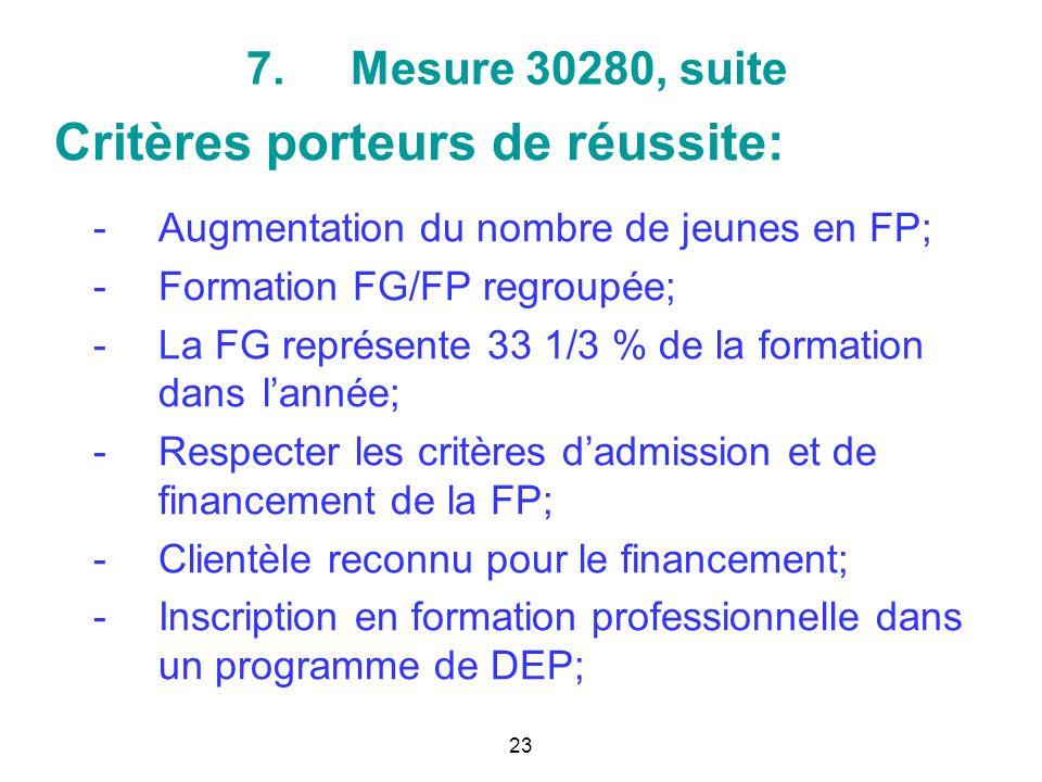 7.Mesure 30280, suite Critères porteurs de réussite: -Augmentation du nombre de jeunes en FP; -Formation FG/FP regroupée; -La FG représente 33 1/3 % de la formation dans lannée; -Respecter les critères dadmission et de financement de la FP; -Clientèle reconnu pour le financement; -Inscription en formation professionnelle dans un programme de DEP; 23