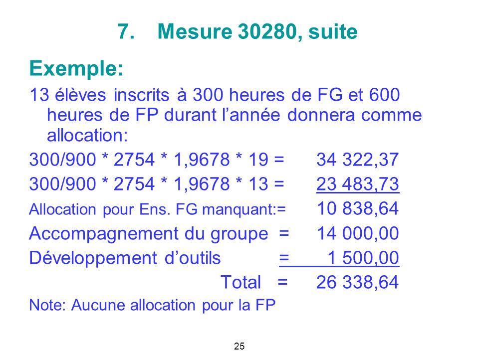 7.Mesure 30280, suite Exemple: 13 élèves inscrits à 300 heures de FG et 600 heures de FP durant lannée donnera comme allocation: 300/900 * 2754 * 1,9678 * 19 = 34 322,37 300/900 * 2754 * 1,9678 * 13 = 23 483,73 Allocation pour Ens.