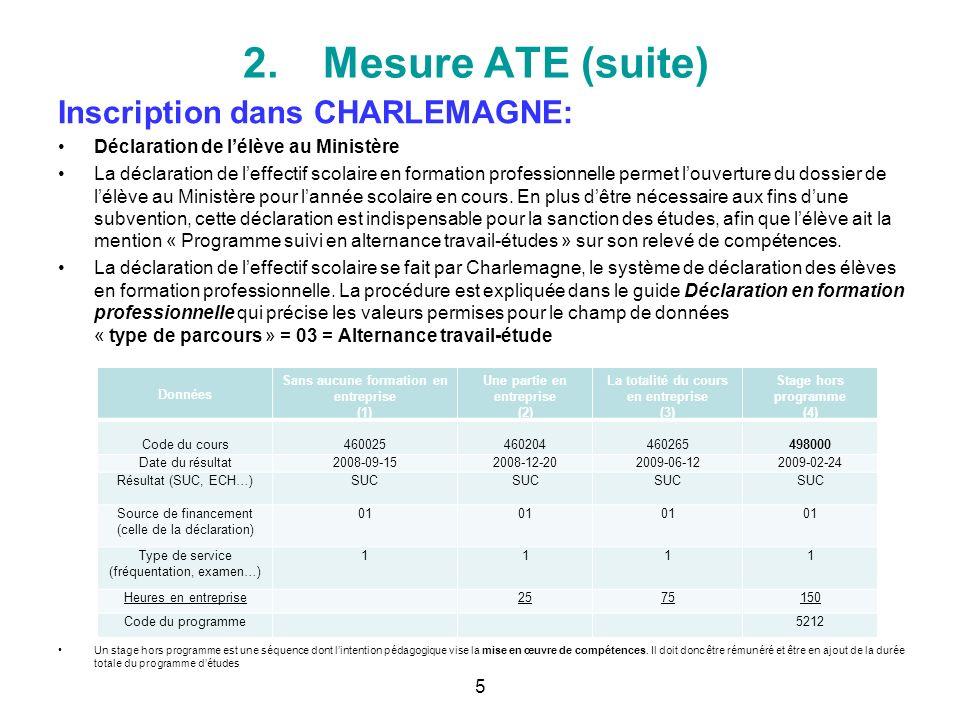 2.Mesure ATE (suite) Inscription dans CHARLEMAGNE: Déclaration de lélève au Ministère La déclaration de leffectif scolaire en formation professionnell