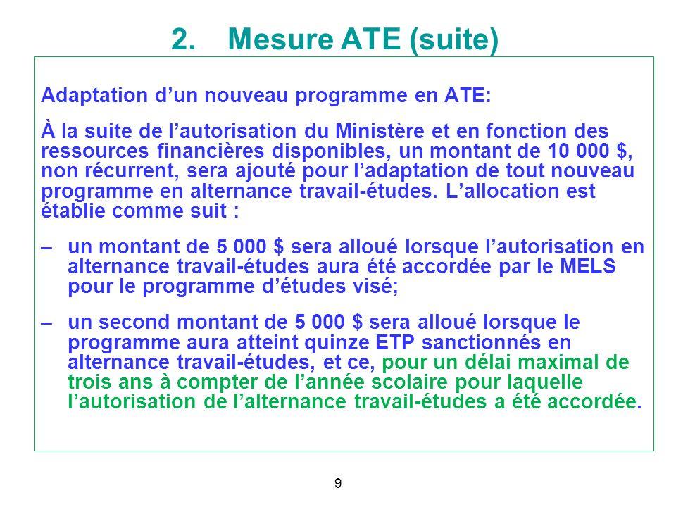 Adaptation dun nouveau programme en ATE: À la suite de lautorisation du Ministère et en fonction des ressources financières disponibles, un montant de
