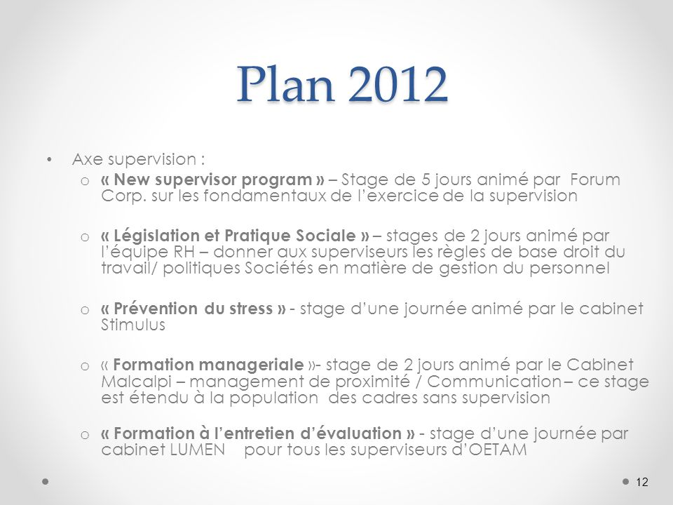 Plan 2012 Plan 2012 Axe supervision : o « New supervisor program » – Stage de 5 jours animé par Forum Corp.