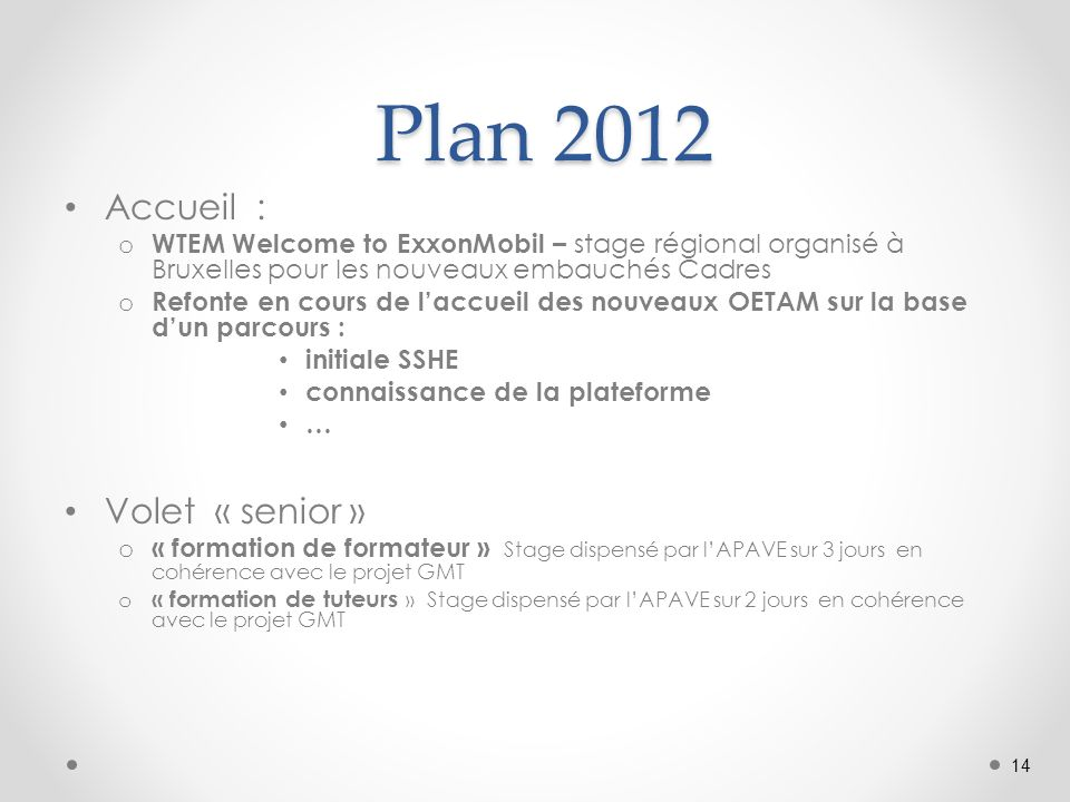 Plan 2012 Plan 2012 Accueil : o WTEM Welcome to ExxonMobil – stage régional organisé à Bruxelles pour les nouveaux embauchés Cadres o Refonte en cours de laccueil des nouveaux OETAM sur la base dun parcours : initiale SSHE connaissance de la plateforme … Volet « senior » o « formation de formateur » Stage dispensé par lAPAVE sur 3 jours en cohérence avec le projet GMT o « formation de tuteurs » Stage dispensé par lAPAVE sur 2 jours en cohérence avec le projet GMT 14