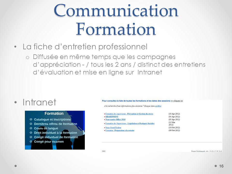 Communication Formation La fiche dentretien professionnel o Diffusée en même temps que les campagnes dappréciation - / tous les 2 ans / distinct des entretiens dévaluation et mise en ligne sur Intranet Intranet 16